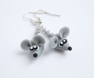 mouse, earrings, and glitter image