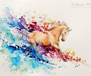 art, colorful, and horse image