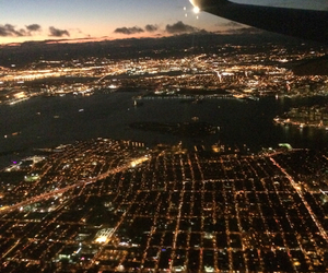 airplane, night, and view image