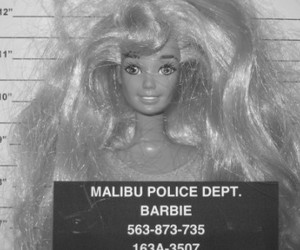 barbie, black and white, and police image