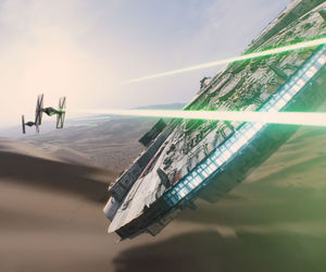 star wars, millennium falcon, and the force awakens image