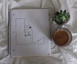 drawing, coffee, and plants image