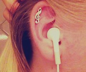 music, ear, and piercing image