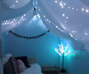 fairy lights, mint, and hearts image