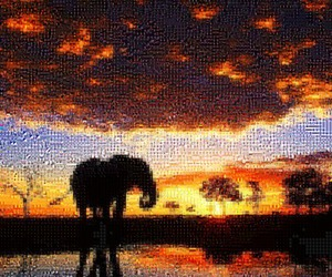 elephant, mosaic, and tilearray image