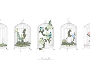 cage, flowers, and drawing image