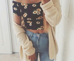 cardigan, flowers, and jeans image