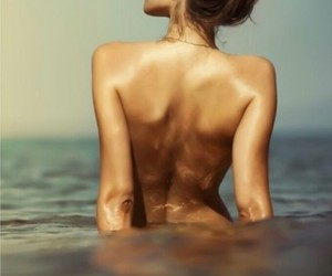 body, hair, and sea image