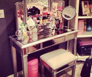 makeup, mirror, and pink image