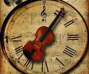 music, violin, and clock image