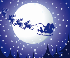christmas, moon, and rudolf image
