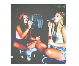 best friends, cigarette, and drunk image