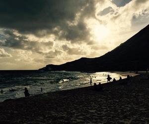 beach, mountain, and sand image