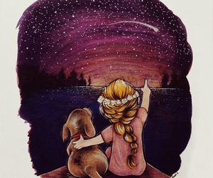 girl, dog, and stars image