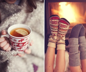 winter, socks, and tea image