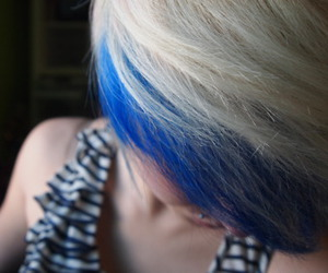 hair, blue hair, and girl image