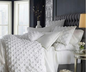 bed, room, and white image