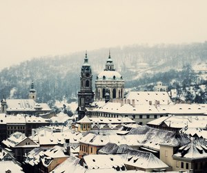 prague, winter, and snow image