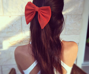 hair, red, and bow image