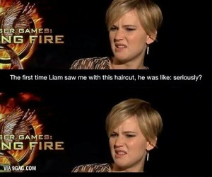 Jennifer Lawrence, funny, and liam hemsworth image