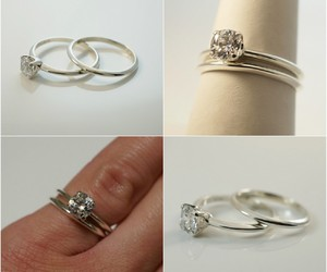 wedding ring, engagement ring, and promise ring image