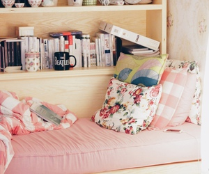 bed, book, and pink image
