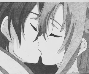 anime kiss, kirito, and asuna image