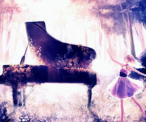 anime girl, beautiful, and piano image