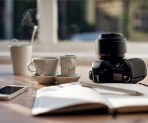 coffee, book, and camera image