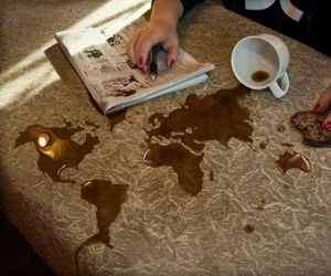 world, coffee, and map image