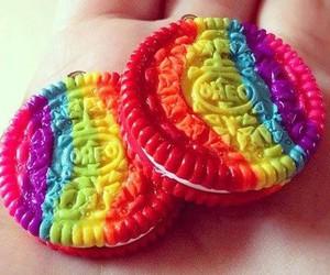 oreo, rainbow, and food image