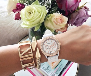 flowers, fashion, and watch image