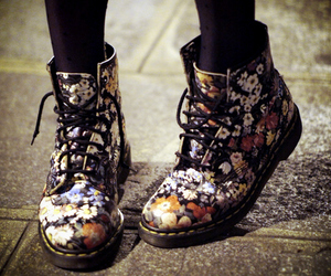 boots, floral, and doc martens image