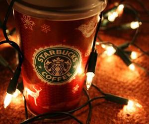 starbucks, christmas, and light image