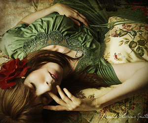 floral, girl, and green image