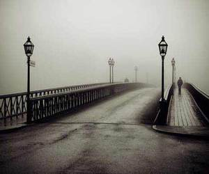 bridge, black and white, and fog image