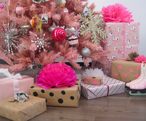 christmas, pink, and present image