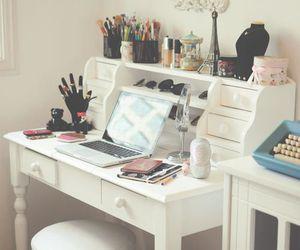 room, desk, and makeup image