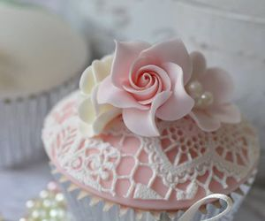 cupcake, pink, and flower image