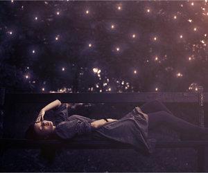 bench, lights, and Venus image