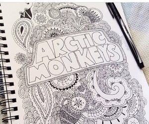 arctic monkeys, drawing, and notebook image