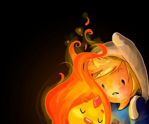 finn, flame, and adventure time image