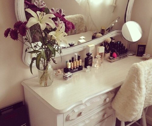 room, flowers, and makeup image