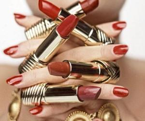 nails, red, and lipstick image