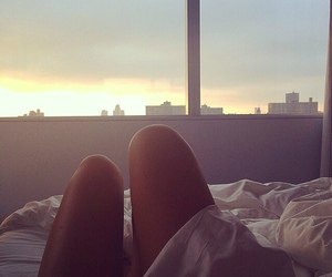 girl, view, and bed image