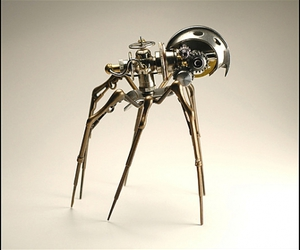robot, spider, and steampunk image