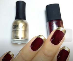 french, nail art, and gold image