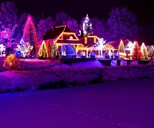 christmas, snow, and christmas lights image