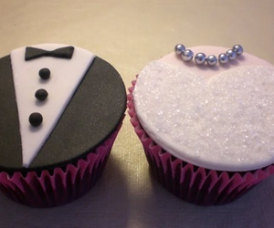 cupcake, wedding, and bride image
