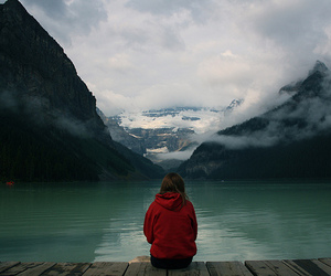 girl, mountains, and alone image